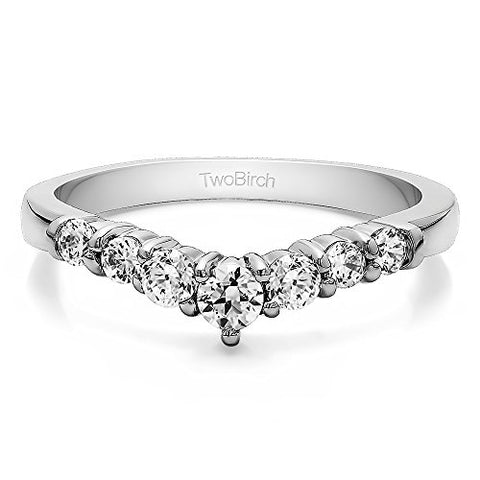 Cubic Zirconia Chevron Wedding Ring In Sterling Silver(0.5Ct)Size 3 To 15 in 1/4 Size Interval
