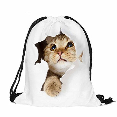 BESSKY 3D Cat Printing Bags Drawstring Backpack(39cm33cm)