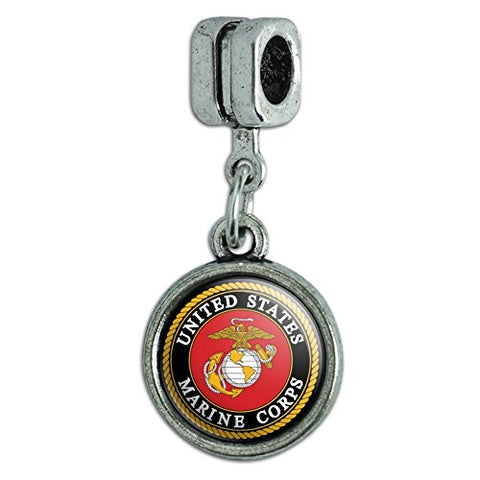 Marines USMC Emblem Black Yellow Red Officially Licensed Italian European Style Bracelet Charm Bead