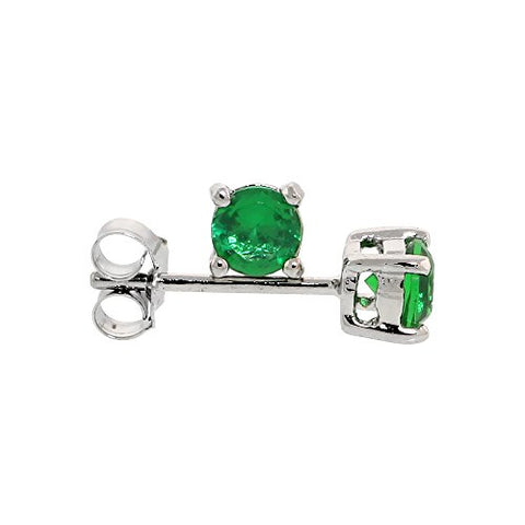 Sterling Silver Cubic Zirconia Emerald Earrings Studs Green Color 4 mm Platinum Coated Basket Setting 0.5 carats/pr