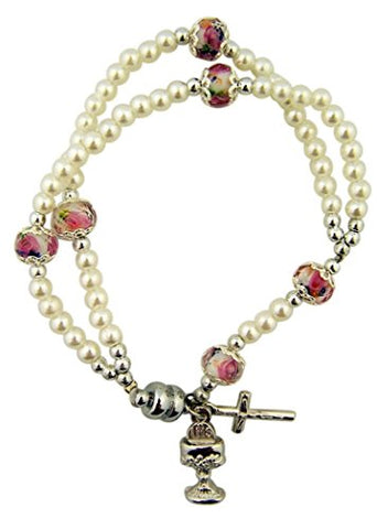 Girls Floral Acrylic Bead Rosary Bracelet with Chalice and Crucifix Charm, 6 1/2 Inch