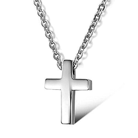 Stainless Steel Cross Religious Pendant Necklace,Unisex, Silver-Tone 16  Chain or Children Boy Girl Teens
