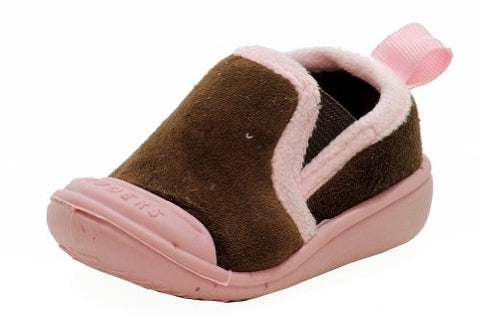 Skidders Girl's Skidproof Gripper Slipper Shoes XY870 (4 - Fits 12 Months, Brown)