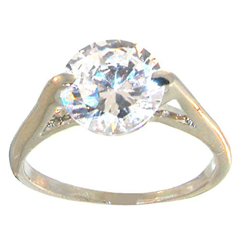 Cubic Zirconia Faux Engagement Ring! Dazzling Bling!, 7, in Crystal with Silver Tone Finish