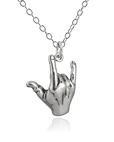 Sterling Silver I Love You Sign Language ASL Pendant Necklace, 18 Inch Chain