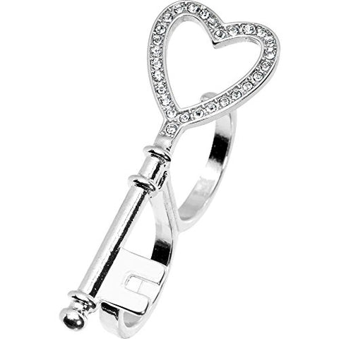 Body Candy Clear Accent Heart Shaped Skeleton Key Double Finger Ring Size 6 and 7
