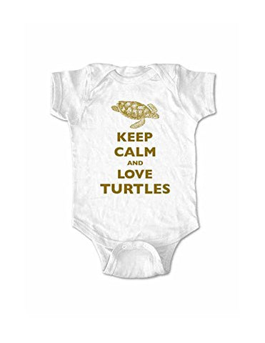 Keep Calm and Love Turtles baby one piece bodysuit (6 Months, White)