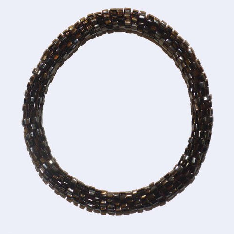 Metallic Bronze Black Handmade Beaded Bracelet, glass seed beads bracelet