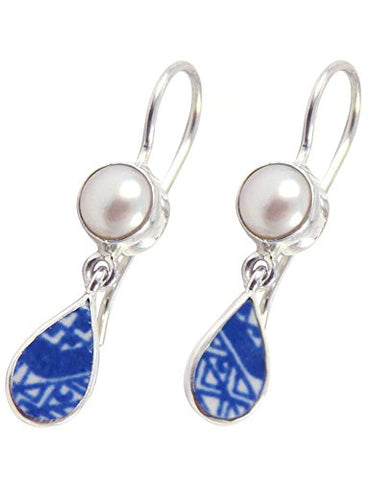 Vintage Blue China and Freshwater-Cultured Pearl Sterling Silver Dangle Earrings