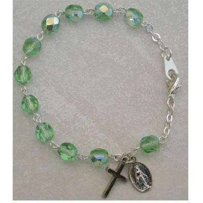 Youth Childrens Girls Stretch Rosary Bracelet Birthstone Green Peridot August Birthstone. Perfect for Christmas, Church, First Communion, Easter, Graduation, Sunday Dress, Easter or Birthday.