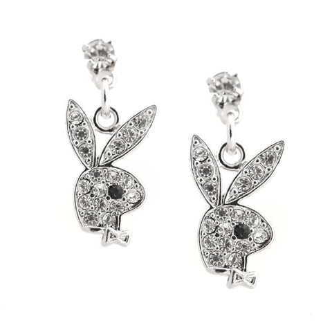 Spinningdaisy Silver Plated Clear Crystal Play Bunny Boy Earrings