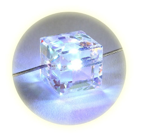 Firejewel LED Crystal Cube Necklace - White