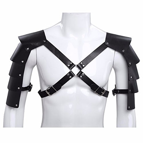 FEESHOW Men's Knights Leather Body Chest Harness Shoulder Guard Armour Costumes