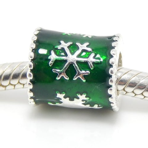 Jewelry Monster Silver Finish  Snowflakes on Green Glass  Charm Bead for Snake Chain Charm Bracelets