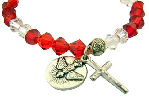 Red and White Acrylic Bead Holy Spirit Confirmation Stretch Bracelet, 7 Inch