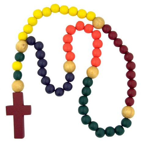 Baby Infant Gift My First Rosary Large Multi Color Wood Bead 21 Inch Cord Prayer Necklace with Red Cross Religious Jewelry