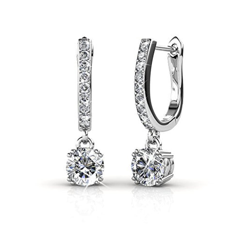 Cate & Chloe McKenzie Charming 18k White Gold Swarovski Earrings, Dangling Earrings w Solitaire Crystal, Best Silver Drop Earrings for Women, Special-Occasion-Jewelry, Channel Set Horseshoe Earrings