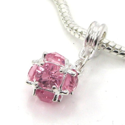 Jewelry Monster Silver Finish  Dangling Pink Rhinestone Ball  October Birthstone Charm Bead for Snake Chain Charm Bracelet
