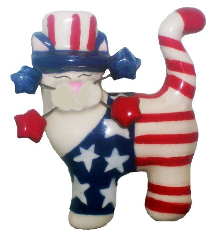 WhimsiClay Yankee Doodle Kitty Cat Pin