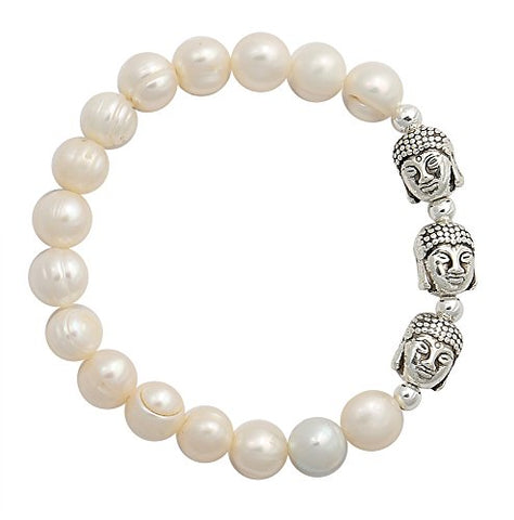 Womens Tibetan Buddhist Head Energy Bracelet with Fresh Water Pearl Beads, 2.25 Inch