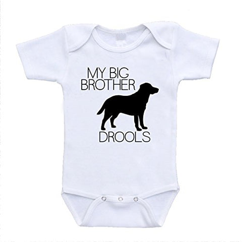 My Big Brother Drools onesies print design silhoette with funny sayings brotherly love bodysuits (3-6 Months)