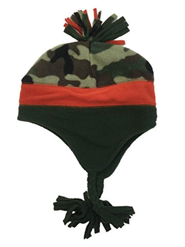 Ben Berger Boys Green & Orange Camo Peruvian Beanie Camouflage Fleece Winter Hat