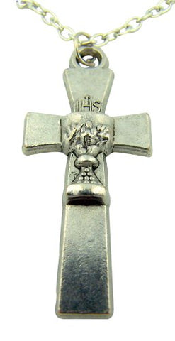 Silver Tone 1 3/4 Inch Cross with IHS Chalice Center First Communion Pendant