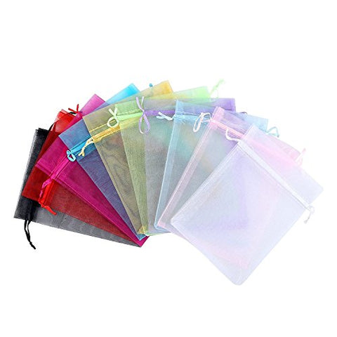 50Pcs 9*12cm Assorted Colors Organza Drawstring Pouches Jewelry Party Mesh Gift Bag Jewlery Candy Multi--functional Bag