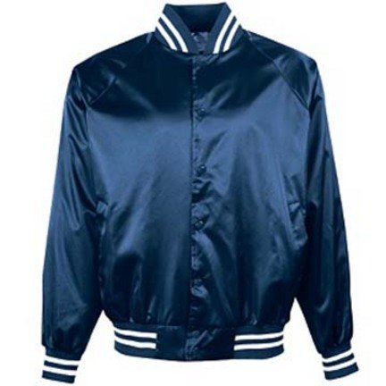 Adult Satin Baseball Jacket with Striped Trim From Augusta Sportswear