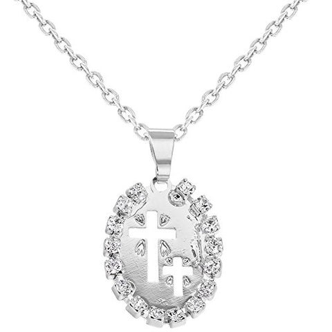 Birth Gift Children's Baby Medal Cross Crucifix CZ Crystal Rhodium Plated