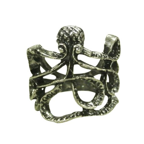 Wrapables Antique Finish Octopus Ring, Size 6 - Silver Tone