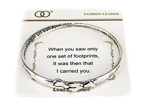 Silvertone Beautiful Inspirational Footprints in the Sand Poem Twisted Bangle Charm Bracelet (with Gift Box)