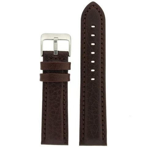 Watch Band Genuine Leather Padded Comfort Dark Brown 22 millimeters Tech Swiss