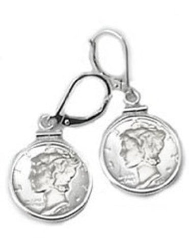 Mercury Dime Coin Earrings Sterling Silver Coin Edge Coin Bezels With Lever Backs