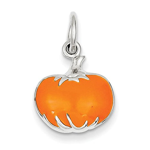Sterling Silver Orange Enameled Pumpkin Charm