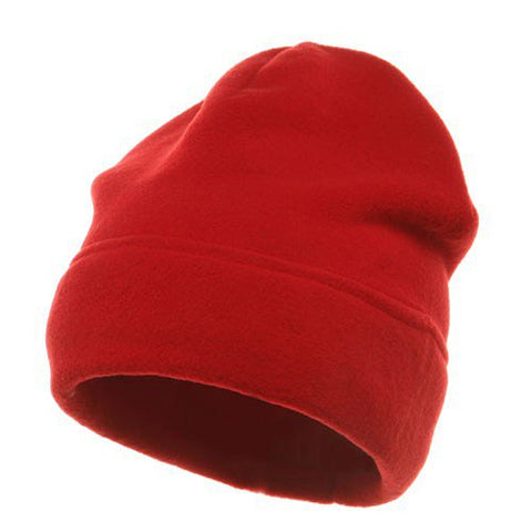 Veloured Polar Fleece Beanie-Red