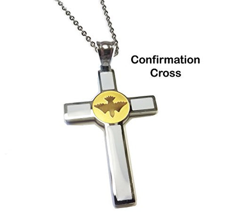 Unique Confirmation Cross - Two Tone Stainless Steel Confirmation Holy Spirit Cross Necklace