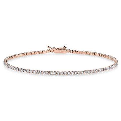 Rose Tone Plated Sterling Silver and Round-Cut Cubic Zirconia Eternity Tennis Bracelet, 1.65 TCW 2mm 7.5