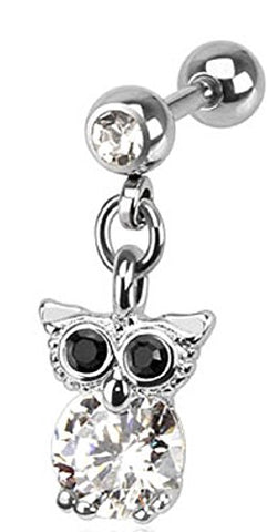 316L Surgical Steel Tragus/Cartilage Barbell with CZ Owl Dangle