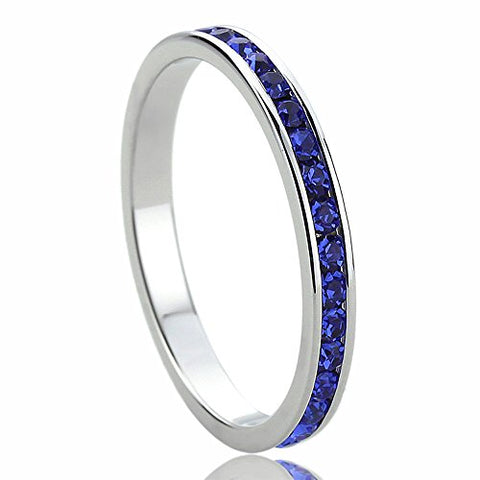 Sterling Silver 3mm Color Cubic Zirconia Eternity Stackable Wedding Band Engagement Ring -SZ: 7