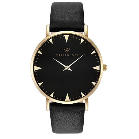 WRISTOLOGY Stella Womens Gold Black Boyfriend Watch Changeable Leather Strap Band
