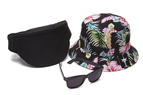 Men's Festival Accessory Kit w/ Floral Bucket, Fanny Pack and Horn-Rimmed Black