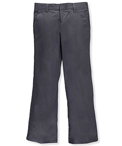 Adjustable Waist Drop Waist Flat Front Pants by French Toast - gray, 10