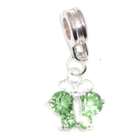 Jewelry Monster Silver Finish  Dangling Butterfly w/ Peridot Green Rhinestone Wings  August Birthstone Charm Bead for Snake Chain Charm Bracelet