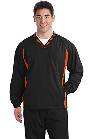 Sport-Tek Men's Tipped V-Neck Raglan Wind Shirt_Black/ Deep Orange_XXXX-Large