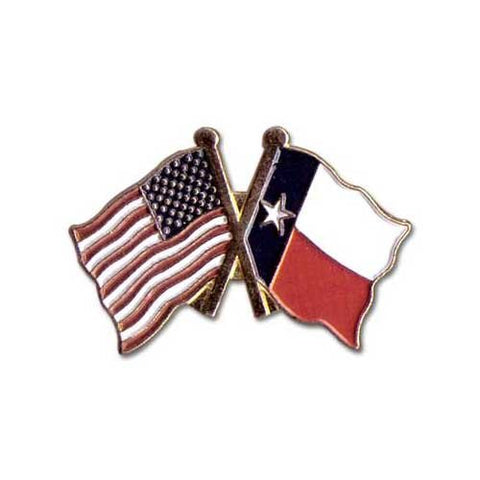 US Flag Store Lapel Pin USA and Texas Flag