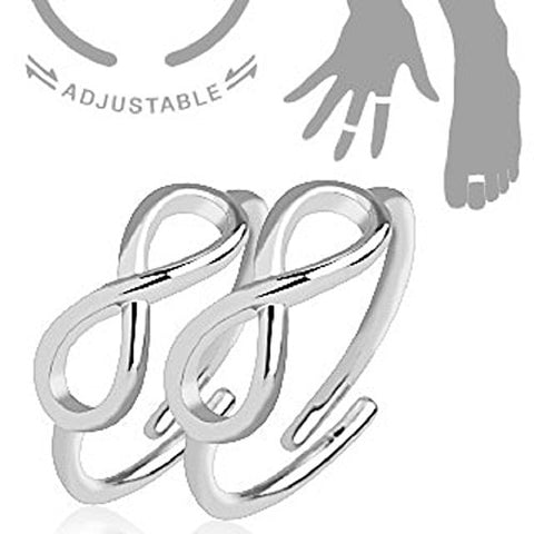 Infinity Symbol Adjustable Rhodium Plated Brass Double Mid-Ring/Toe-Rings Pair of Rings
