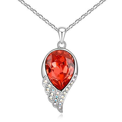 Sojewe Silver tone Angel Fly Wing Pendant Necklace Red Swarovski Elements Crystal 18  Chain for Women