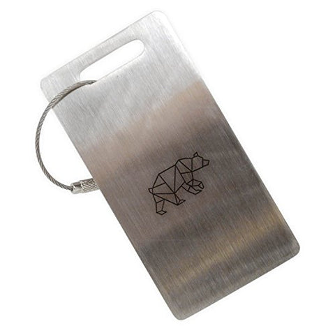 Geometric Bear Stainless Steel Luggage Tag, Luggage Tag
