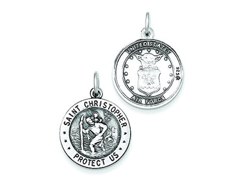 Sterling Silver St.christopher Us Air Force Medal Pendant Necklace w/Chain